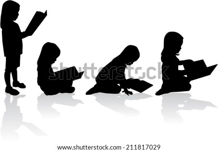 Silhouette of a girl reading a Children Reading Silhouette
