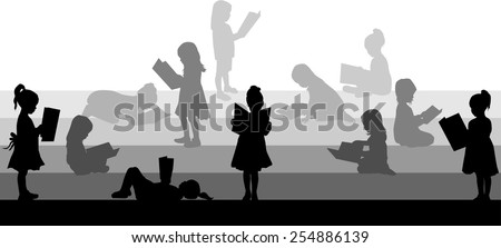 Silhouette of a girl reading a book. - stock vector