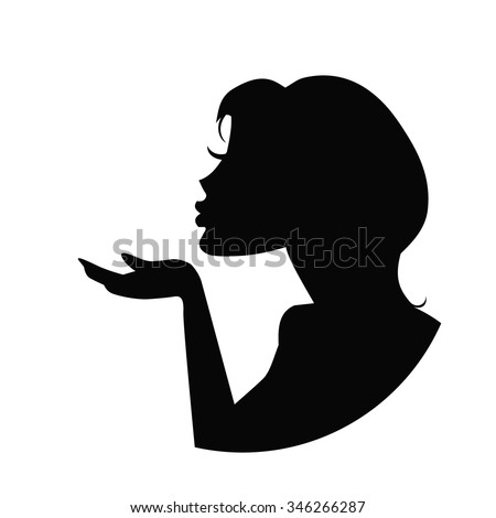 silhouette of a girl who sends an air kiss