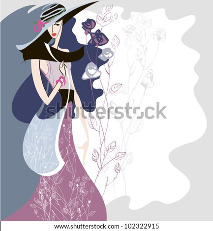 Silhouette of a girl who shows the clothes in retro style with a decorative background - stock vector
