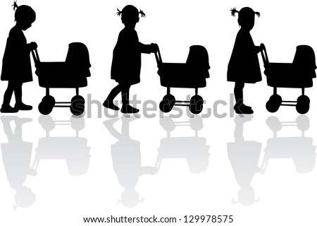 Silhouette of a girl  with cart for dolls - stock vector