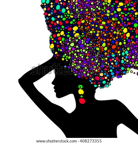 Silhouette of a girl with colored hair circles. Vector