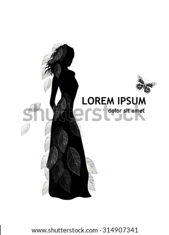 Silhouette of a girl with leaves. Vector - stock vector