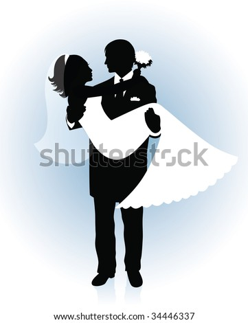 Silhouette of a groom holding a bride up in his hands on a blue background. - stock vector
