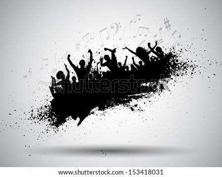 Silhouette of a group of party people on a grunge background with music notes - stock vector