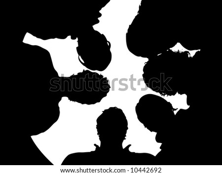 silhouette of a group of people - illustration (vector file) - stock vector