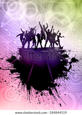Silhouette of a grunge party crowd on an abstract background - stock vector