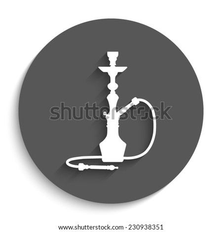 silhouette of a hookah  - vector icon with shadow on a round grey button - stock vector