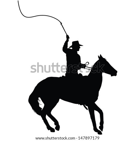 Silhouette of a horseman cracking a whip  - stock vector
