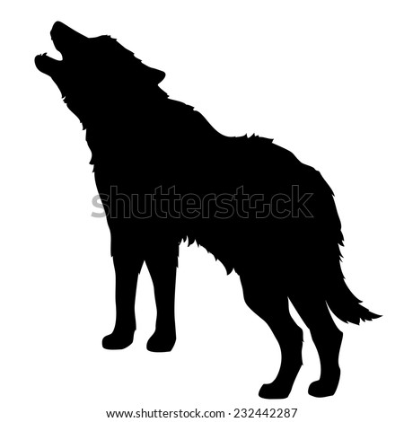 silhouette of a howling wolf or a dog barking isolated object