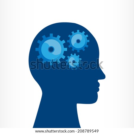 silhouette of a human head jigsaw. innovation management - stock vector