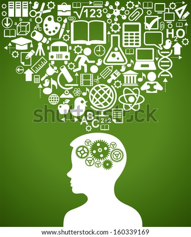 Silhouette of a human head with gears in place of the brain. Above his head is a lot of icons. The concept of  education - stock vector