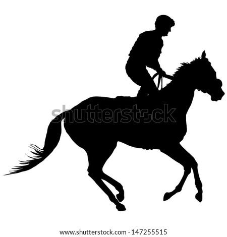 Silhouette of a jockey exercising his horse - stock vector