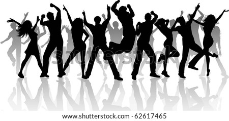 Silhouette of a large group of people dancing - each silhouette is separate and can be used individually - stock vector
