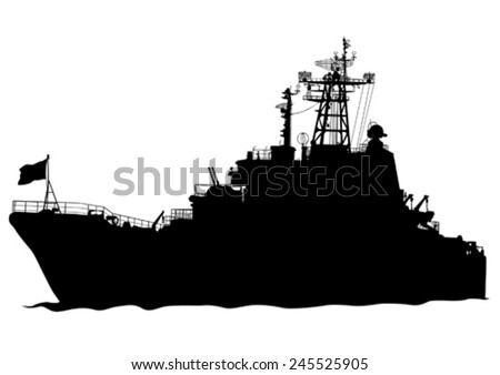 Silhouette of a large warship on a white background - stock vector