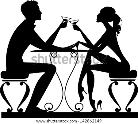 silhouette of a man and a woman at a table with a glass in hand - stock vector