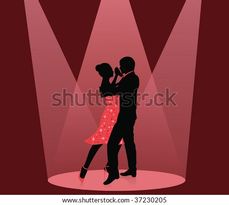 Silhouette of a man and a woman dancing in the spot light. - stock vector