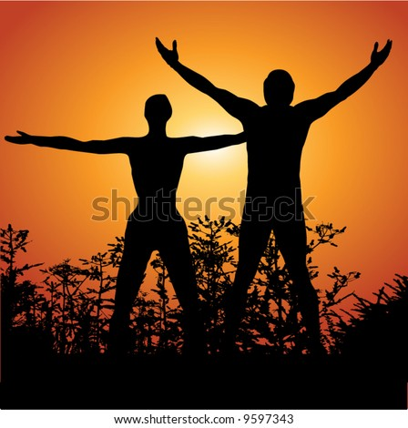 Silhouette of a man and woman with arms lifted up to the sky - stock vector