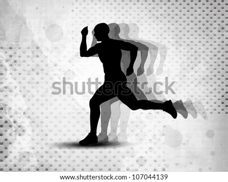 Silhouette of a man athlete running on grungy grey abstract background. EPS 10. - stock vector