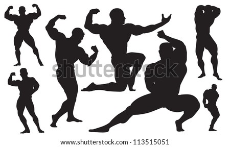 silhouette of a man bodybuilder - stock vector