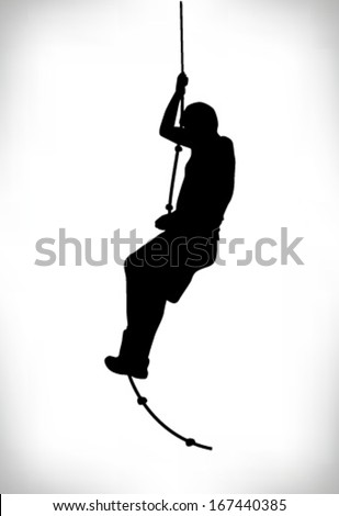 silhouette of a man climbing a rope - stock vector
