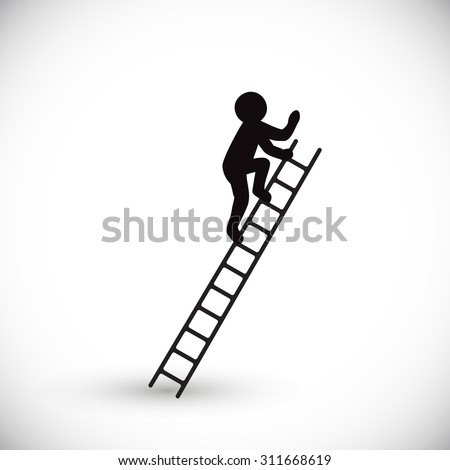 Silhouette of a man climbs stairs. Isolated on white background. Vector illustration. - stock vector