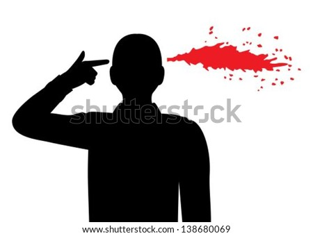 silhouette of a man folded his fingers into the shape of a gun and holds his temple. Pulled out of my head the blood spatter - stock vector