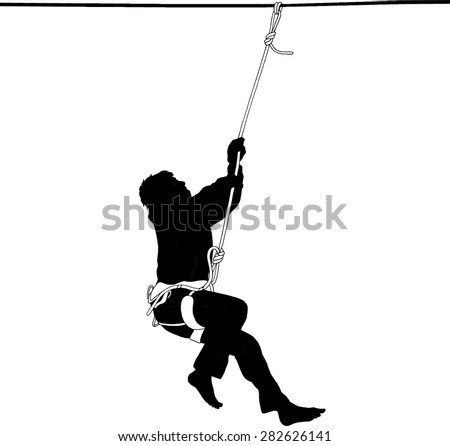 Silhouette of a man hanging on a rope in a safety harness after falling from highline - stock vector