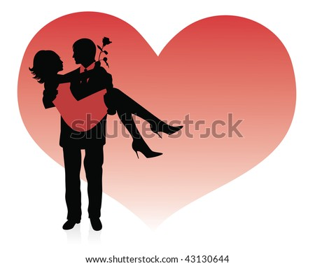 Silhouette of a man holding a woman up in his hands. Red heart on a background.