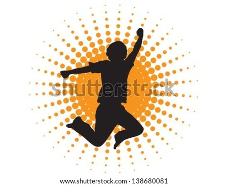 silhouette of a man jumping on a background of abstract sun - stock vector