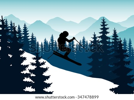 Silhouette of a man on skis with ski poles in his hands against a backdrop of mountains and forests. Descent on the ski slopes. Abstract vector image.