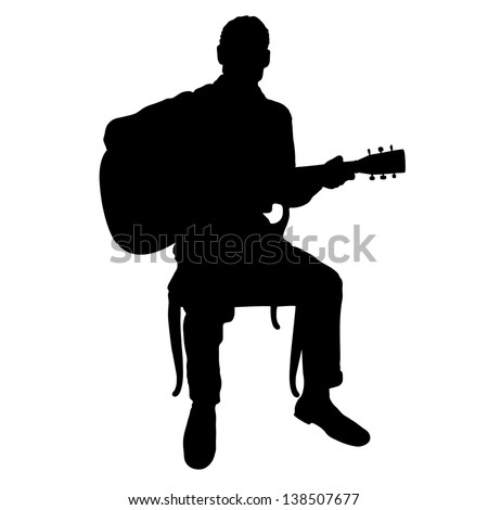 Silhouette Man Playing Acoustic Guitar Stock Vector ...