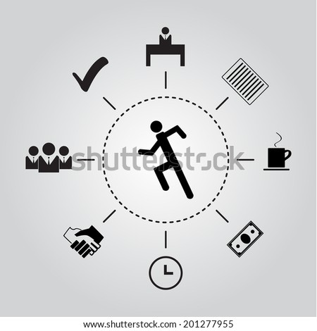 Silhouette of a man running in the routine tasks and actions.