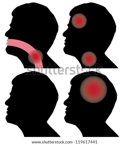 silhouette of a man's head who feels pain - stock vector