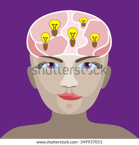 silhouette of a man s head with a glowing light bulb - stock vector