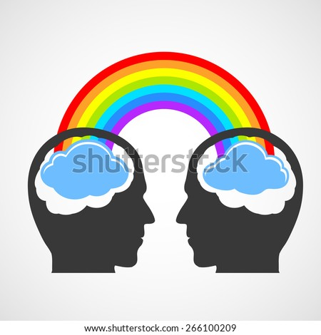 Silhouette of a man's head with a rainbow and clouds. Vector image. - stock vector
