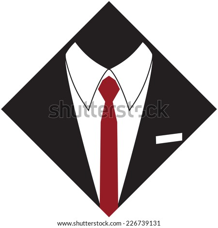 Silhouette of a man suit and red tie, hand drawn, vector illustration