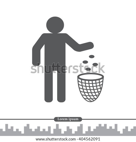 Silhouette of a man, throwing garbage in a bin - stock vector