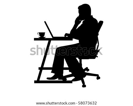 silhouette of a man typing at a laptop - stock vector