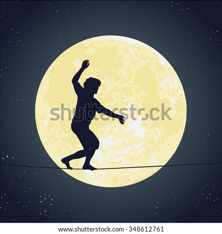 Silhouette of a man walking on the tight rope in front of the bright full moon in the dark starry night - stock vector