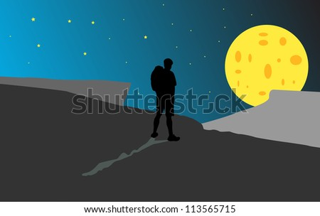 Silhouette of a man with a backpack on a background of the moon - stock vector