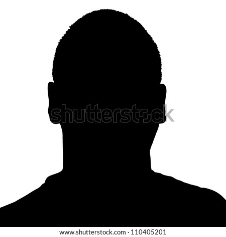 Silhouette of a mans head in black over a white background in vector format.