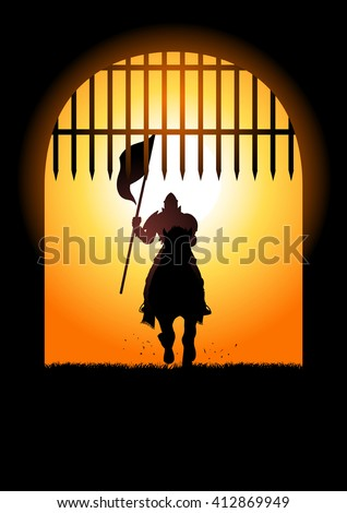 Silhouette of a medieval knight on horse carrying a flag entering the castle gate - stock vector