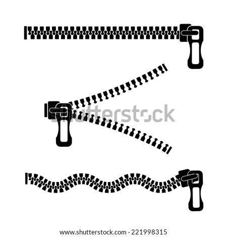 silhouette of a metal zipper on a white background - stock vector