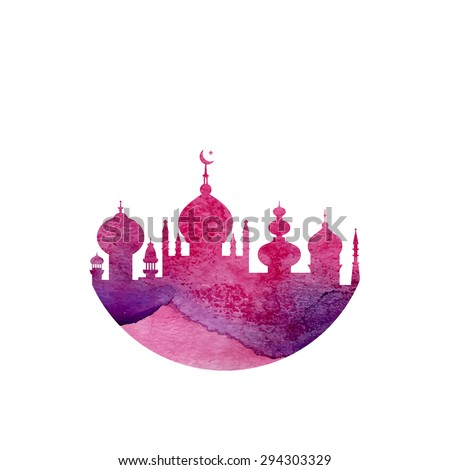 Silhouette of a mosque and Islamic city with watercolor texture made in vector. Islamic conceptual illustration. - stock vector