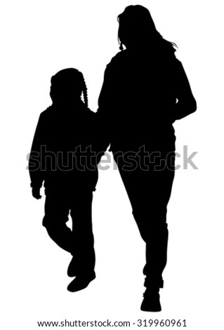 Silhouette of a mother and daughter on the walk