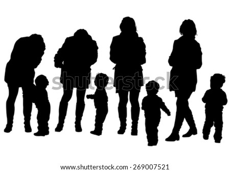 Silhouette of a mother and daughter on walk - stock vector