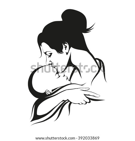 Silhouette of a mother and her child. Mothers day - stock vector
