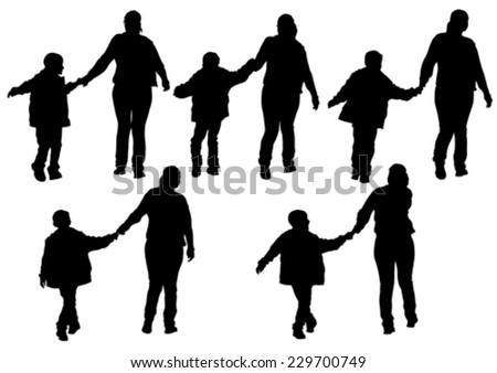 Silhouette of a mother and son on walk - stock vector