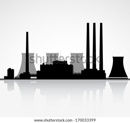 Silhouette of a nuclear power plant. Vector illustration. - stock vector